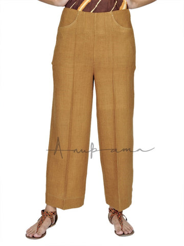 Gold Khadi wool pants