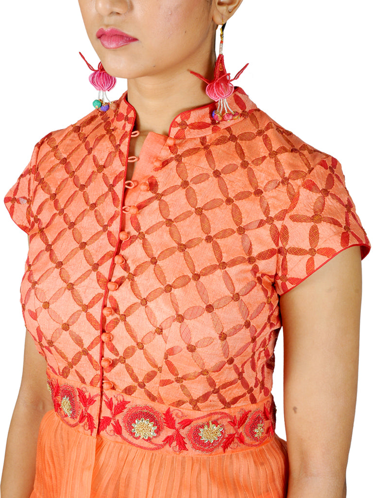 Peach Katan Silk Gota patti Embroidered Lehenga with Patchwork Peplum Top
