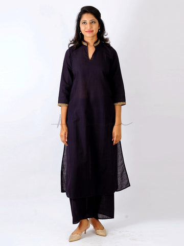 Everyday mangalgiri kurtas in Cococola with collar and cuff embroidery