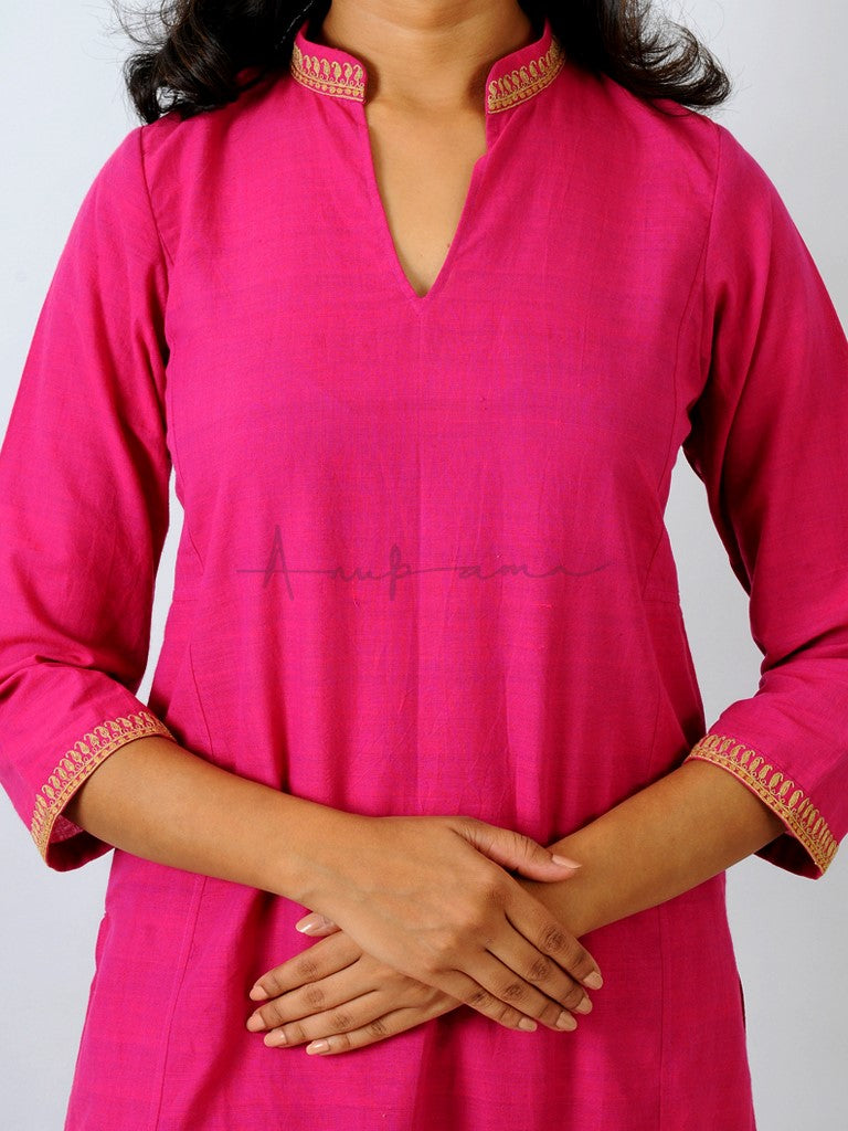 Everyday mangalgiri kurtas in Rani Pink with collar and cuff embroidery