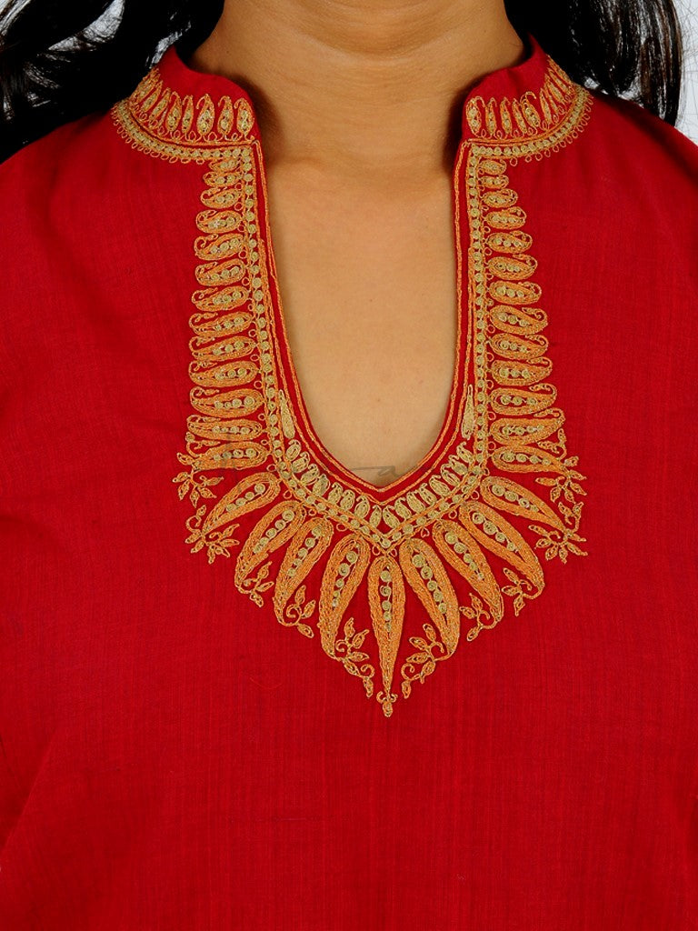 Everyday mangalgiri kurtas in Red with Jewel neck embroidery