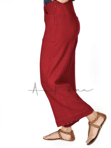 Cherry Red Khadi wool pants