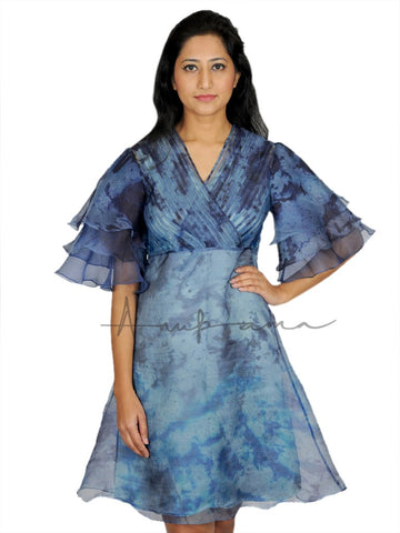 Blue Grey silk katan leheriya pleated empire dress