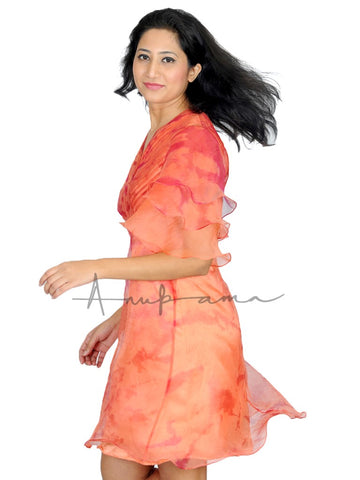 Peach Pink silk katan leheriya pleated empire dress