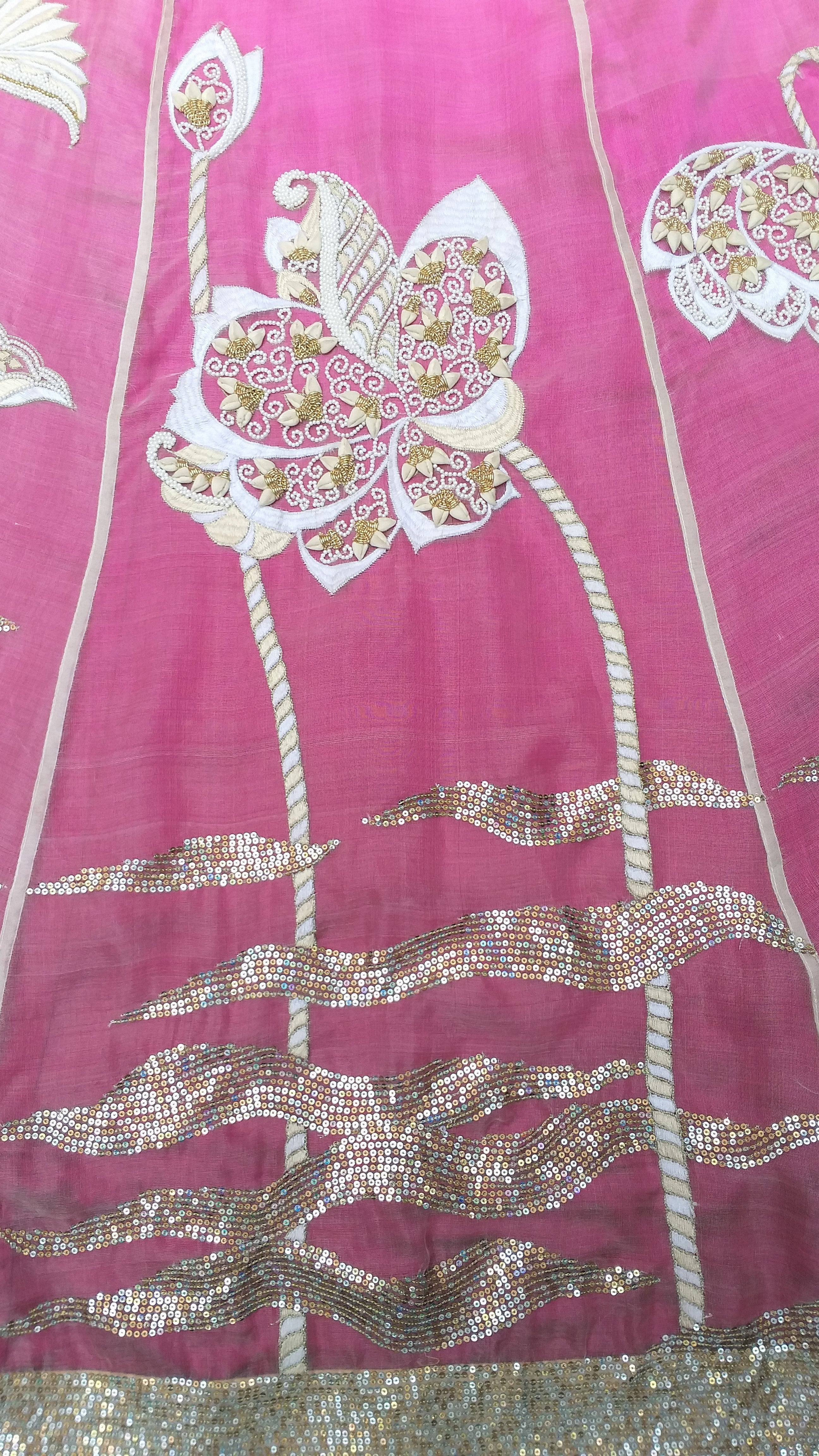 Katan Silk Rosebuds And Gota patti lotuses Embroidered Lehenga