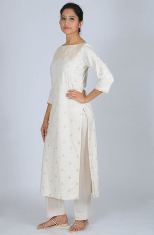 Cream Boat neck Dori Embroidered khadi kurta