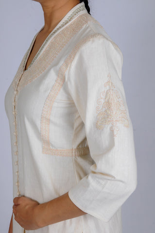 Cream Dori Embroidered khadi Choga