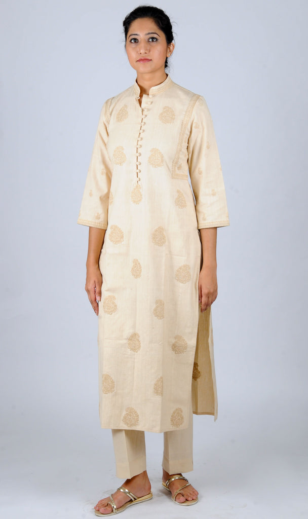 Beige allover ambi Embroidered khadi kurta