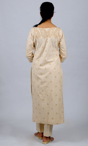 Beige Boat neck Dori Embroidered khadi kurta