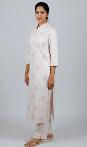 Powder pink allover ambi Embroidered Khadi Kurta