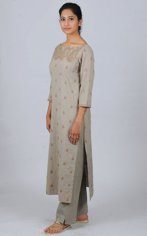 Khakhi boat neck Dori Embroidered khadi kurta