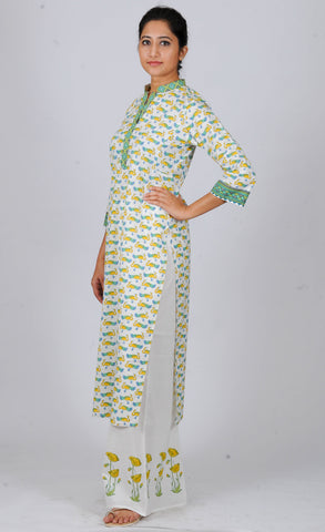 Printed kurtas yellow green peacocks
