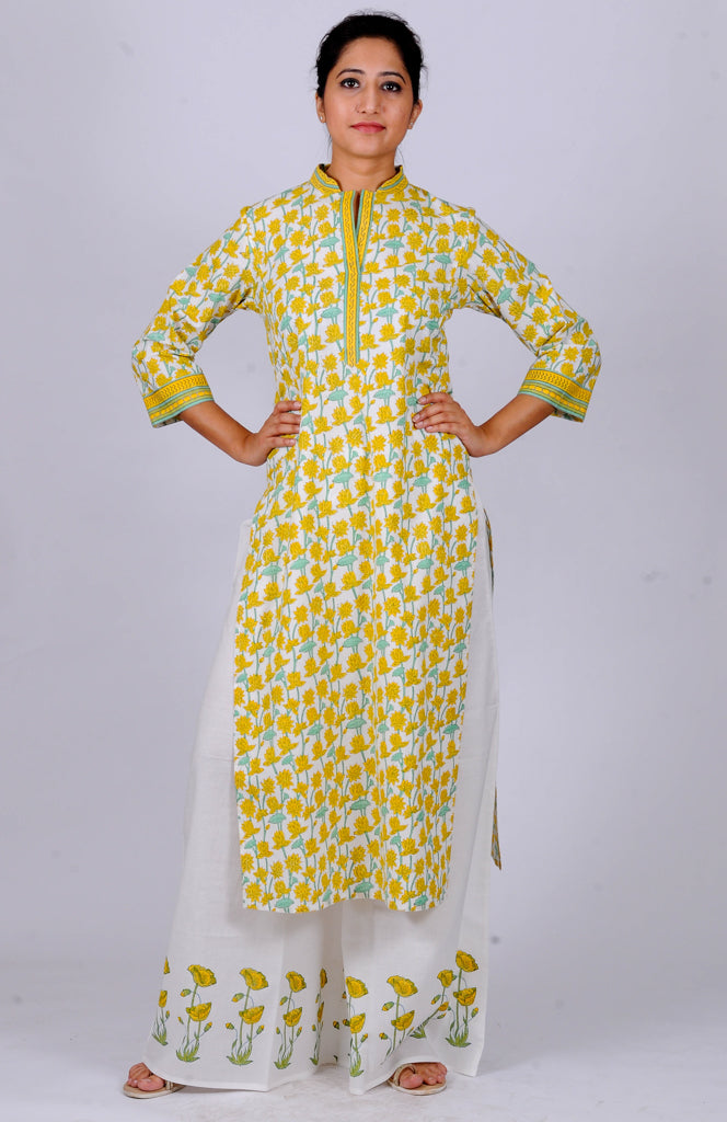 Printed kurtas yellow Lotus jaal