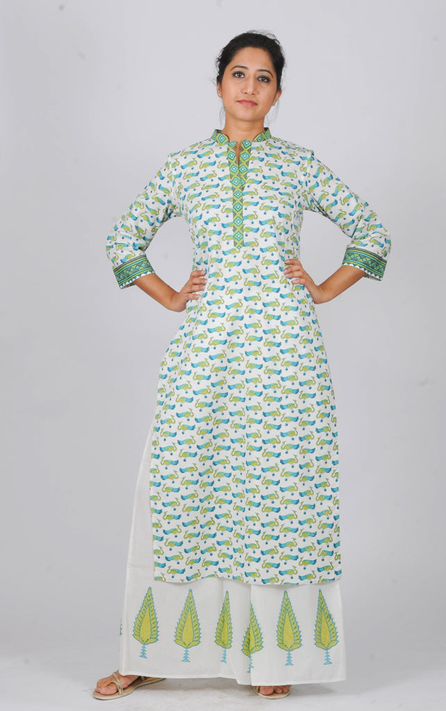 Printed kurtas Blue Green peacocks