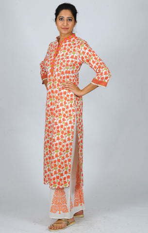 Printed kurtas Orange Lotus jaal