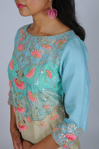 Aqua Grey Rosebud gota embroidered Patchwork kurta