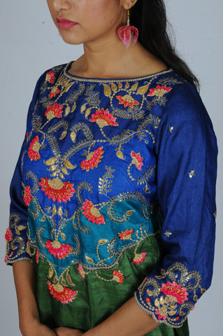 Peacock tone Rosebud gota embroidered Patchwork kurta