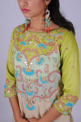 Lime/Mint Rosebud gota embroidered Patchwork kurta