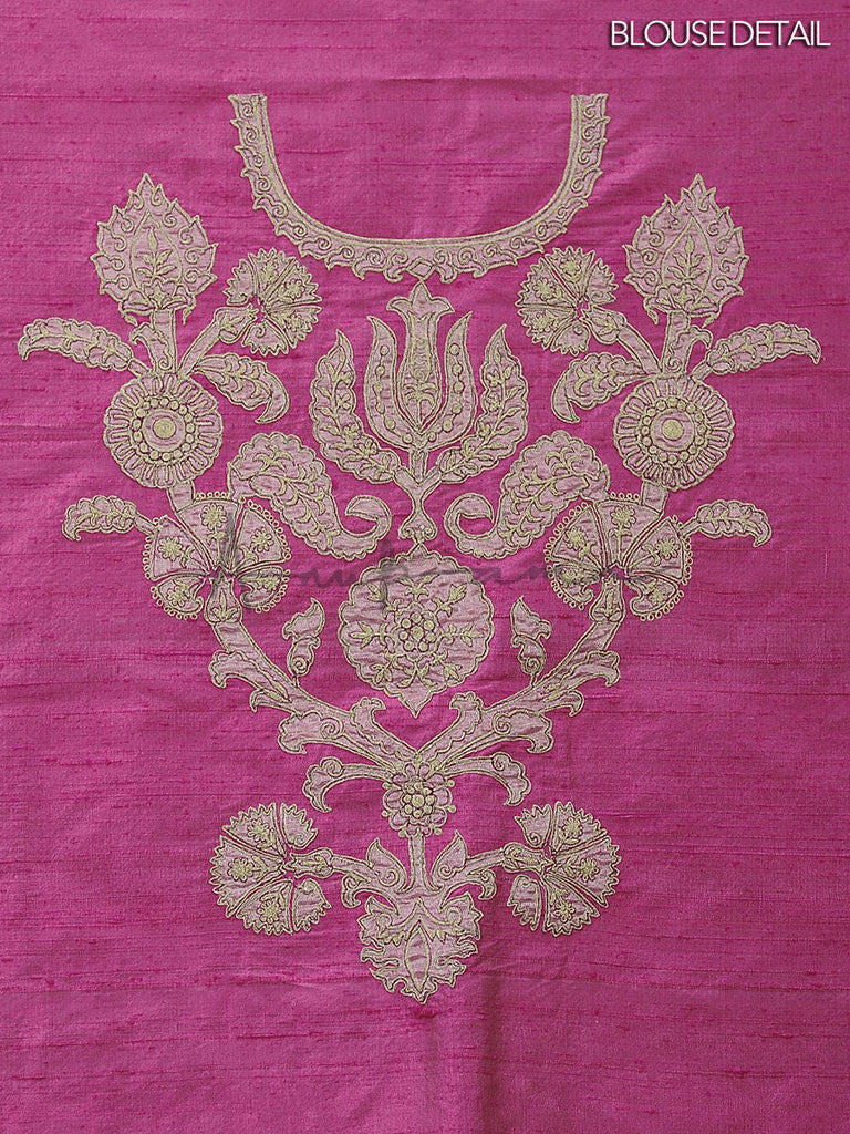 Embroidered Fuchsia chiffon saree with blouse