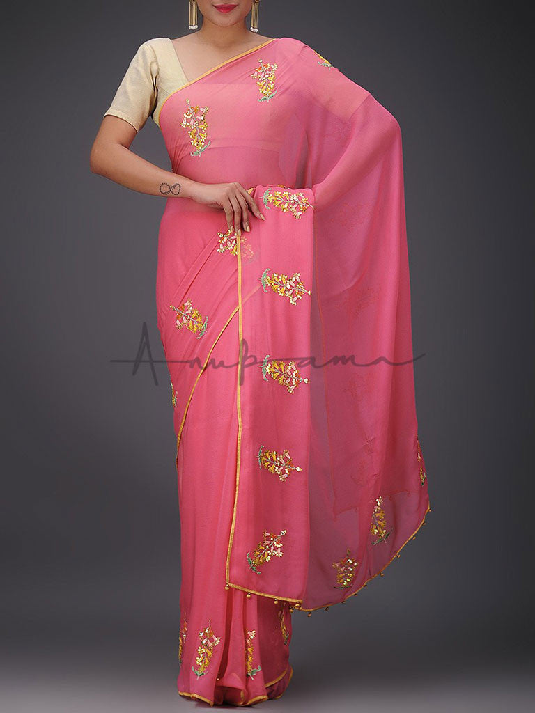 Embroidered chiffon saree with blouse