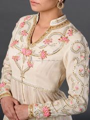 Rosebud embroidered farshi panelled kurta coat with matching cotton poplin pants