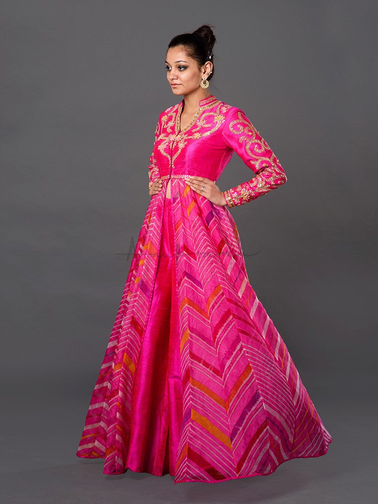 Rosebud and Handfolded Gota Embroidered Leheriya Coat