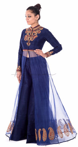 Dori embroidered silk panelled coat with matching culotte pants in rawsilk