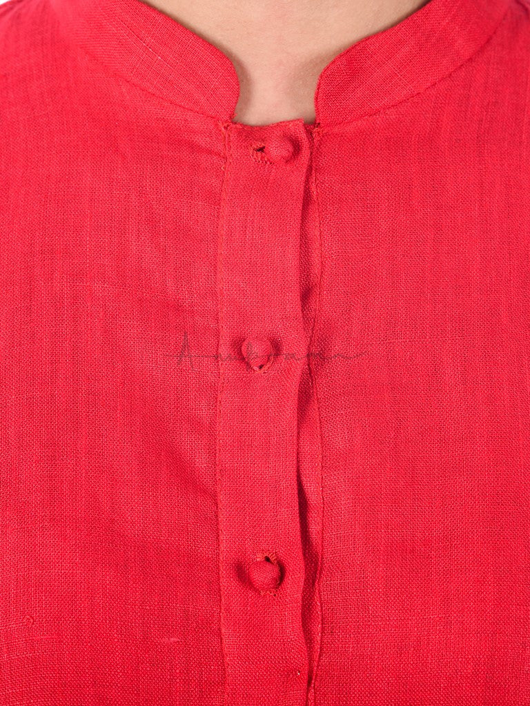Solid Coloured Linen Kurta