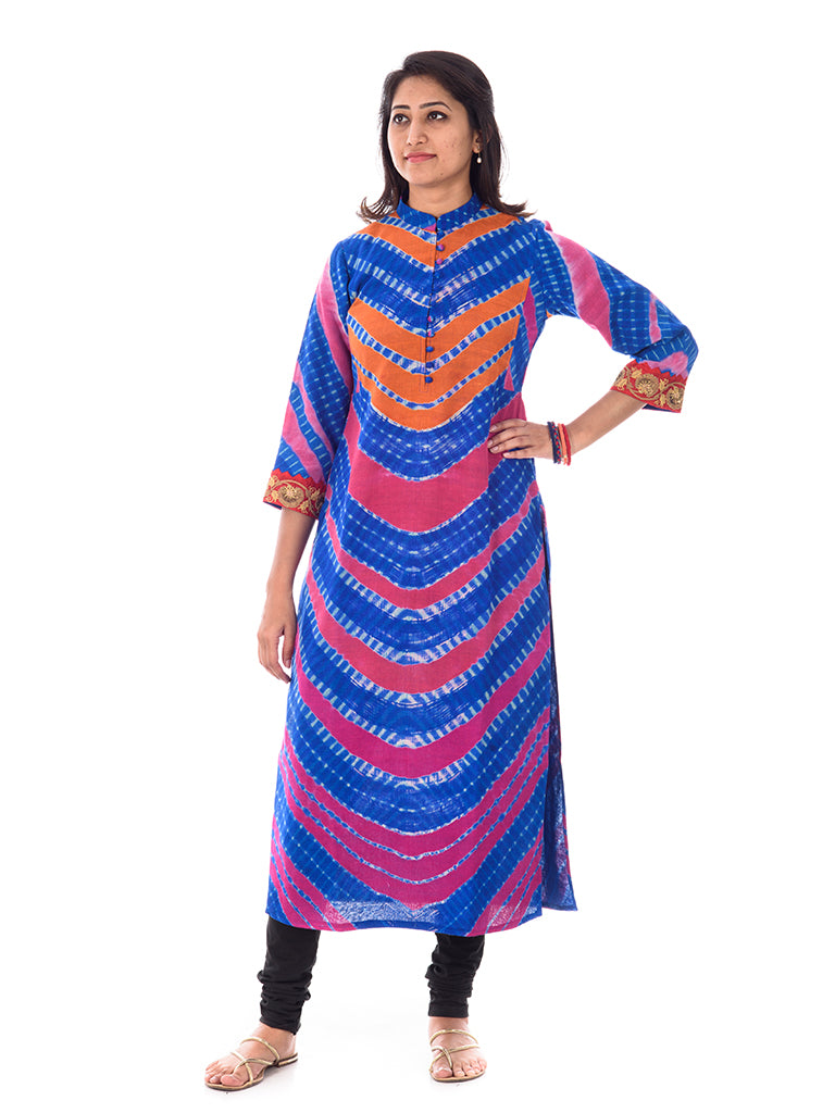 Leheriya kurta in Jute silk