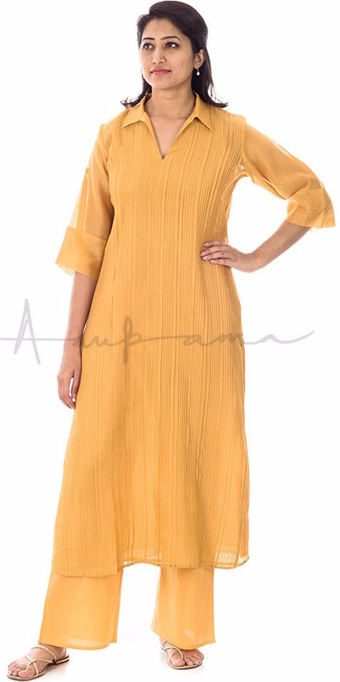 Pleated Chanderi Kurta with matching pallazos in cotton voille