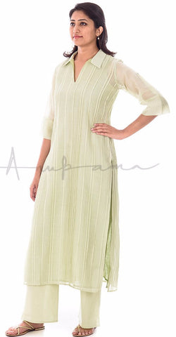Pista Green Pleated Chanderi Kurta with matching pallazos in cotton voille
