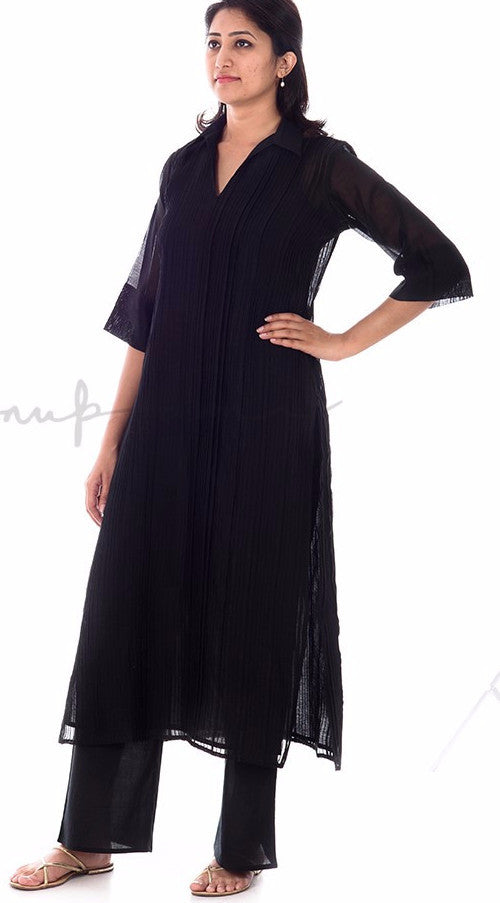 Black Pleated Chanderi Kurtas with matching pallazos in cotton voille