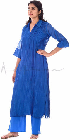 Ink Blue Pleated Chanderi Kurta with matching pallazos in cotton voille