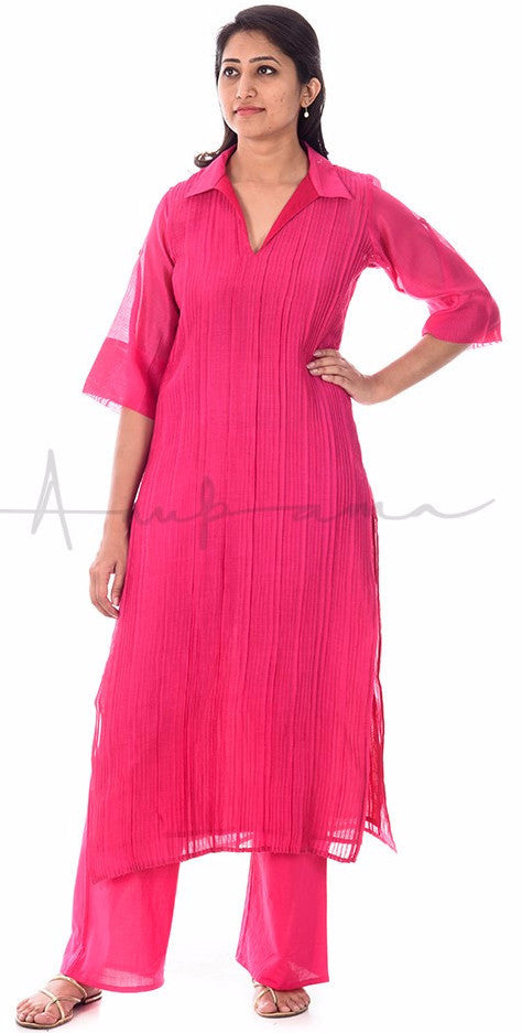 Rani Pink Pleated Chanderi Kurta with matching pallazos in cotton voille