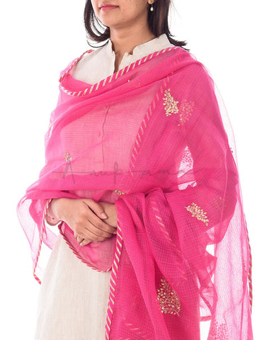Gota embroidered kota cotton dupattas edged with cotton gota magzi