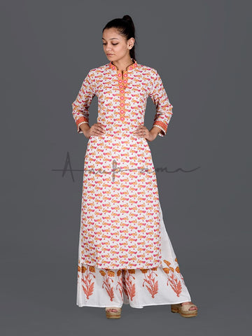 Printed Kurtas Red Orange Peacocks