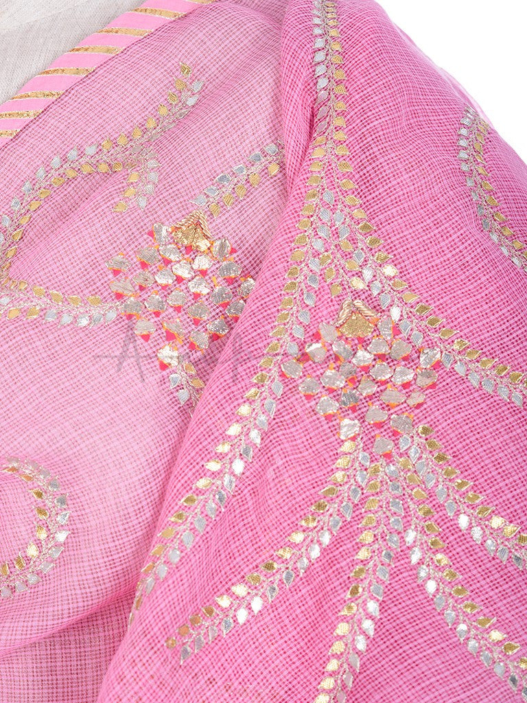 Gota curls embroidered pink kota cotton dupatta