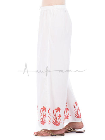 Printed cotton pallazos coral tulips