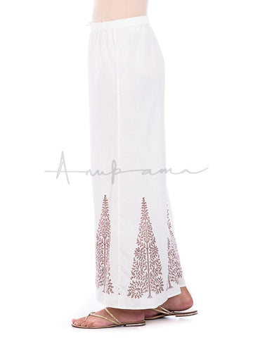 Printed cotton  pallazos grey Ambi tree