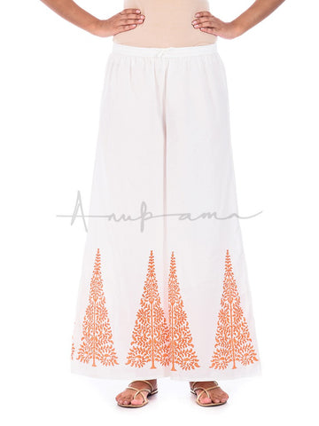 Printed cotton  pallazos Orange Ambi tree