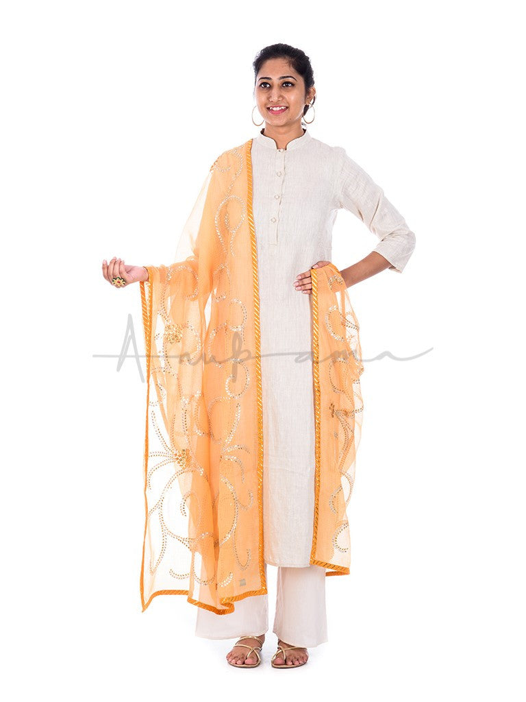 Gota curls embroidered Kesariya kota cotton dupatta