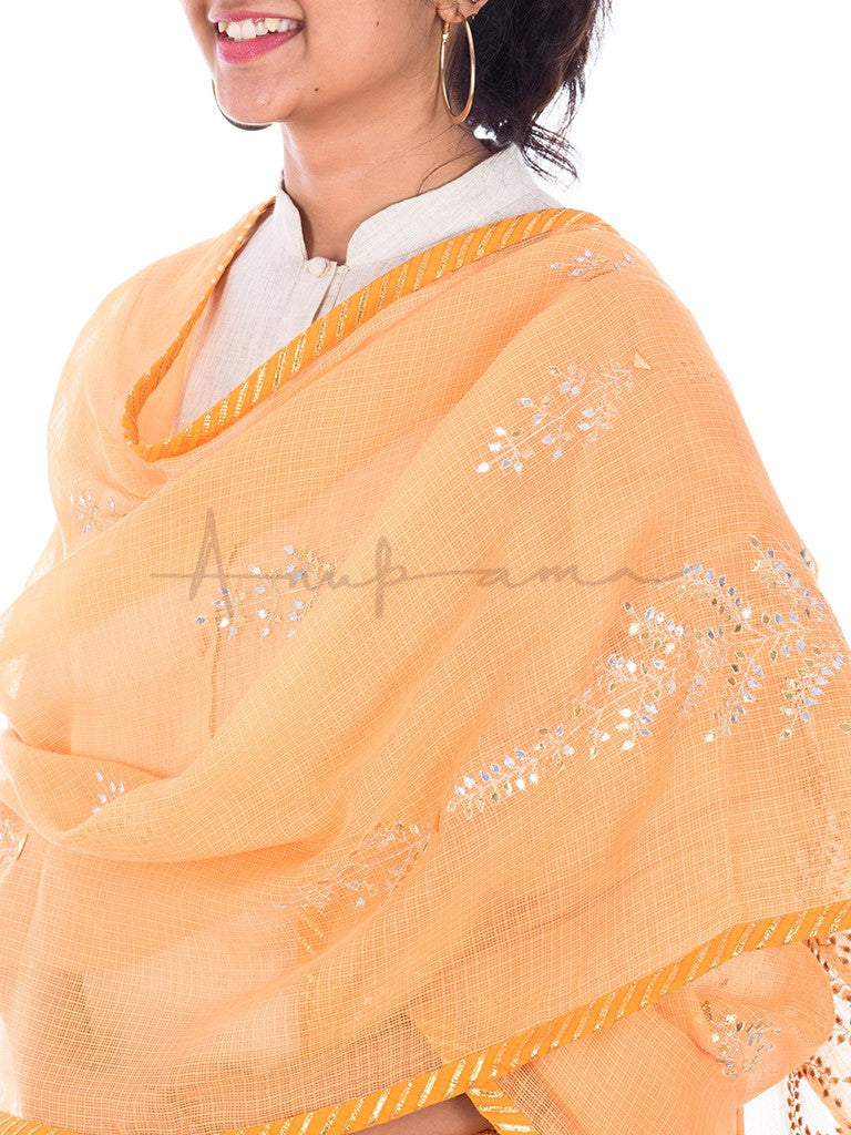 Gota tree embroidered Kesariya kota cotton dupatta