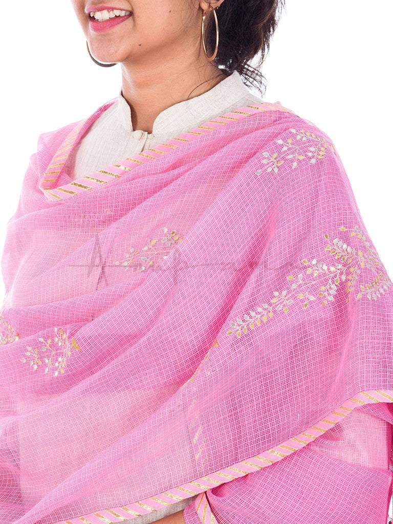 Gota Tree embroidered Pink kota cotton dupatta