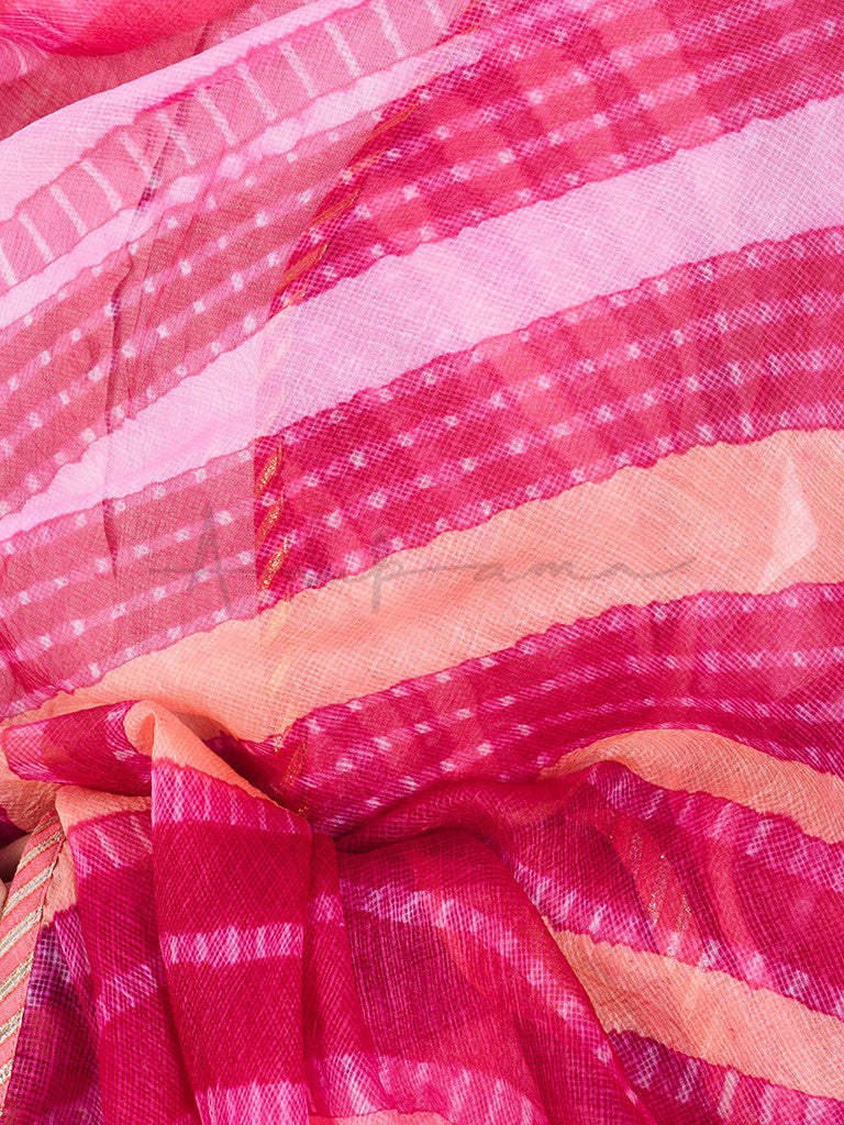 Hand tie dyed kota tussar dupattas with gota trim and hand made fabric bead tassels