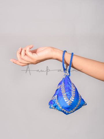 Blue Gota Embroidered Pouches and Potlis