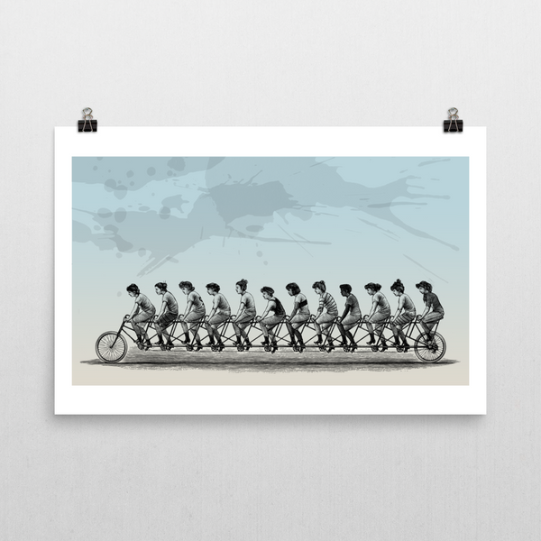 Bicycle Women Unframed Art Print