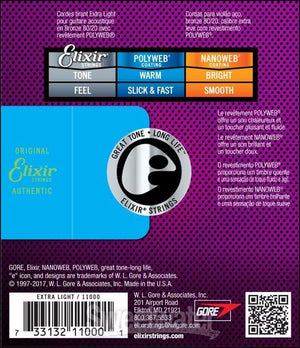 ELIXIR 11000 POLYWEB 80-20 BRONZE ACOUSTIC GUITAR STRINGS 10-47 | Zoso Music