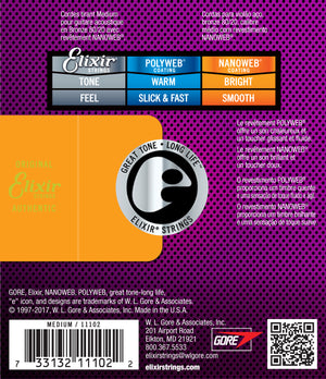 ELIXIR 11102 NANOWEB 80-20 BRONZE ACOUSTIC GUITAR STRINGS 13-56 | Zoso Music