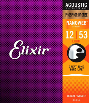 ELIXIR 16052 STRINGS PHOSPHOR BRONZE ACOUSTIC GUITAR STRINGS W NANOWEB COATING, LIGHT 12-53 | Zoso Music