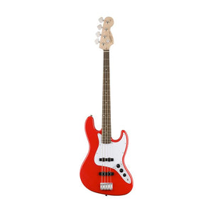 SQUIER AFFINITY 4 STRING JAZZ BASS GUITAR, LAUREL Fret board, RACE RED Color